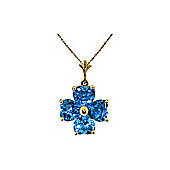 QP Jewellers 24in 1.15mm Clover Flower Heart Necklace with 3.80ct Blue Topaz Pendant in 14K Gold