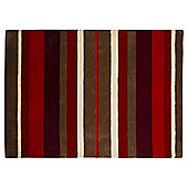 Wool Stripe Rug 120 x 170cm, Red
