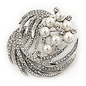 Rhodium Plated Pearl/ Swarovski Crystal 'Wings' Corsage Brooch - 5.5cm Diameter