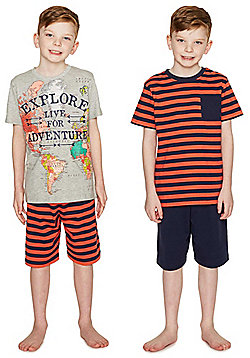 F&F 2 Pack of Explore Slogan Shorts Pyjamas - Multi