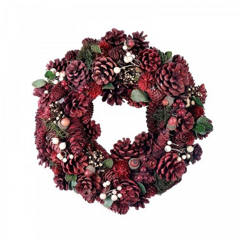 Red Pine Cone Seasonal Wreath with White Berry & Acorn Feature - Medium