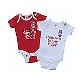 England RFU Baby Rugby 2 Pack Bodysuits - 2015/16 - White