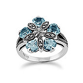 Gemondo Sterling Silver 2.70ct Blue Topaz & 0.12ct Marcasite Cocktail Style Ring