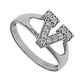 Silver Cubic Zirconia Identity ID Initial Signet Ring Letter V