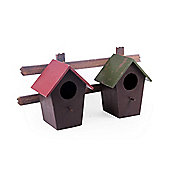 Wall Mountable Double Wooden Bird House for the Garden