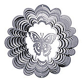 Iron Stop Large Silver Butterfly Classic Wind Spinner 12in