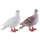Realistic Life-size White & Grey Doves Bird Garden Ornament Pair