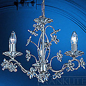 Franklite Fleurette Three Light Chandelier - Chrome