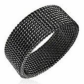 Urban Male Men's Ring Black Look Stainless Steel Mesh Band 8mm