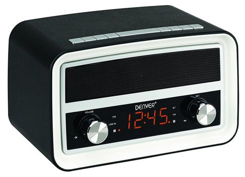 buy denver crb 619 black retro radio alarm clock with bluetooth from our clock radio range tesco. Black Bedroom Furniture Sets. Home Design Ideas