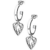 IT Diamonds Rhodium CHERISH Diamond Heart Drop Earrings