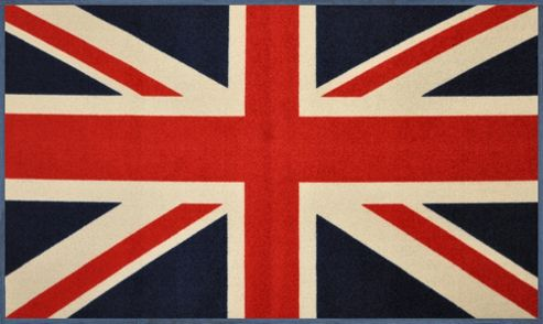 Wash & Dry by Kleen-Tex Union Jack Flat Bordered Rug - 75cm x 50cm