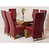 Valencia Glass & Oak 200 cm Dining Table with 6 Burgundy Lola Leather Chairs