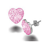 Jewelco London Sterling Silver Pink Crystal Love shape studs Heart Earrings