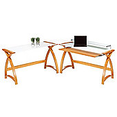 Jual Curve - Curved Oak and White Glass Desk
