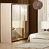 Forte Ruby Mirrored Slider Wardrobe with Lights - Oak