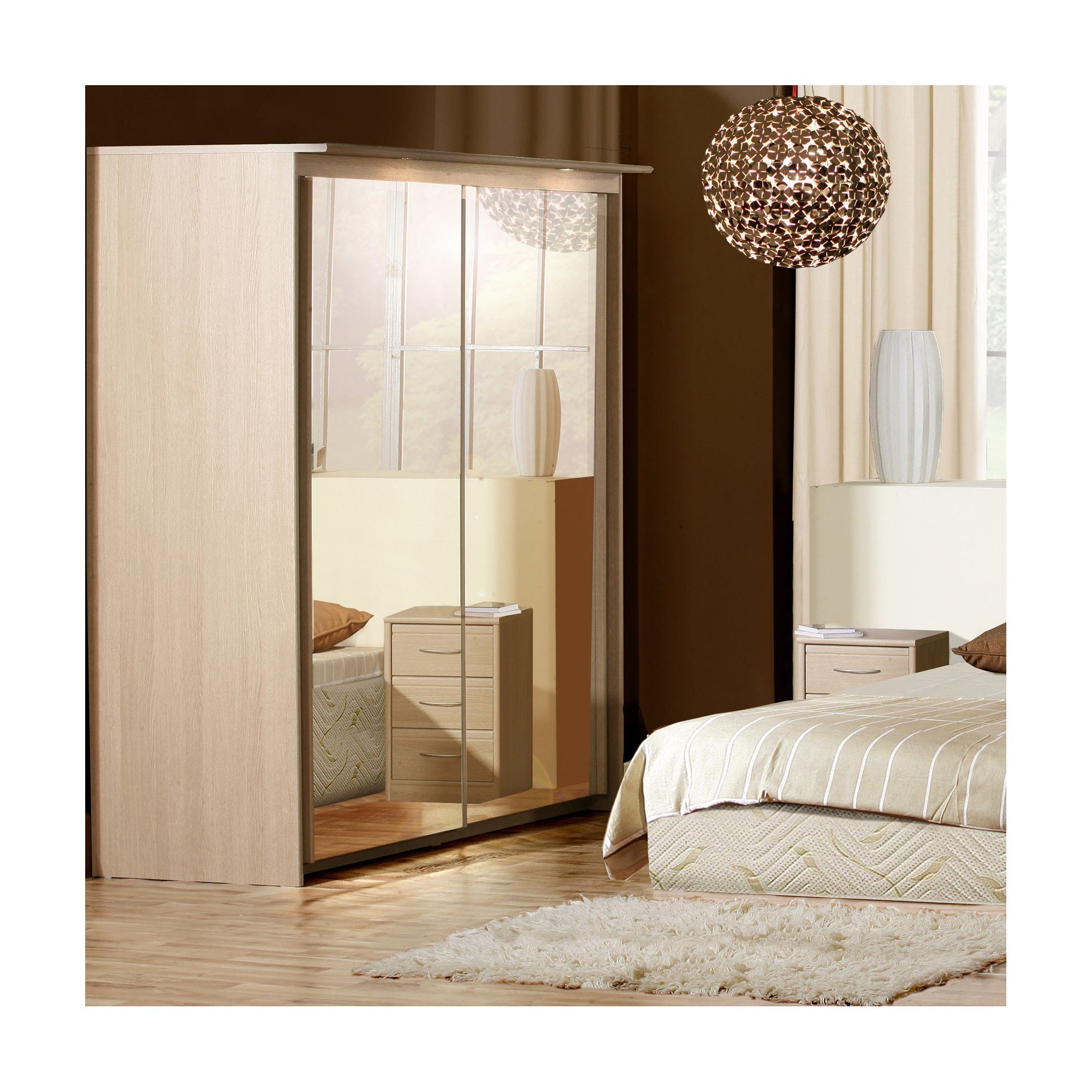 Forte Ruby Mirrored Slider Wardrobe with Lights - Oak at Tesco Direct