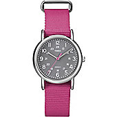 Timex Unisex Indiglo Pink Material Strap Watch T2N834