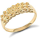 9ct Solid Gold light weight 3 row Keeper Ring