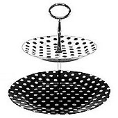 Dotty - 2 Tier Cake Stand / Afternoon Tea Plate - Black / White
