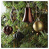 Tesco Mini Baubles Gold, 20 Pack