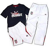 Respect England Kids Shirt Short & Track Pant - Navy