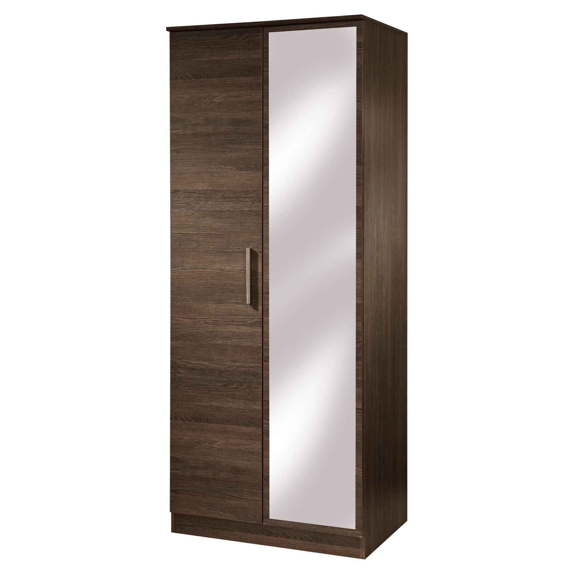 Welcome Furniture Contrast Tall Mirror Wardrobe - Cocobola at Tesco Direct