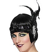 Flapper Headband - Black Satin