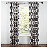 "Tesco Nouveau Lined Eyelet Curtain W163xL229cm (64x90""), Black/White"