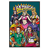 Gloss Black Framed The Big Bang Theory Superheroes Poster