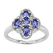 Gemondo 925 Sterling Silver 0.79ct Natural Tanzanite & Diamond Cluster Style Ring