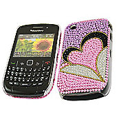 Purple Pink Silver Gold Hearts FunkGem Back Cover Case - BlackBerry 8520 Curve, 9300 3G