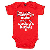 Dirty Fingers I'm cute mummy's cute and my Daddy's lucky x Bodysuit