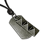 Urban Male Adjustable Black Leather Necklace with Dog Tag and Ingot Pendant