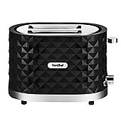 VonShef 1000W 2 Slice Diamond Toaster - Black