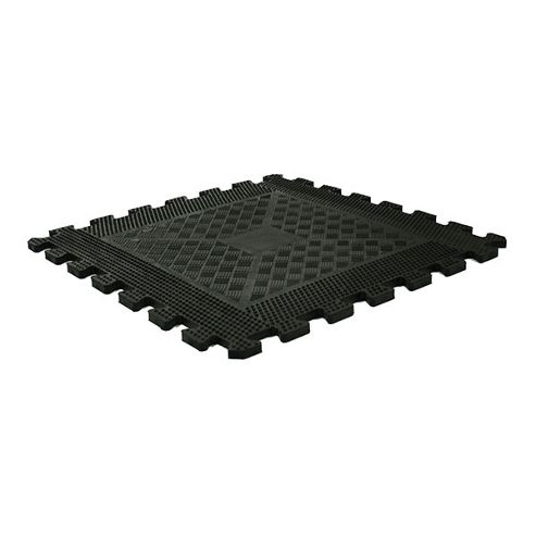 Bodymax Rubber Interlocking Floor Mats - Black 500mm x 500mm x 12mm thick - Single Mat
