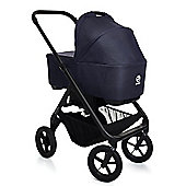 Easywalker Mosey 2 in 1 Pram (Black Chassis) - New York Blue + Maxi Cosi Adaptors