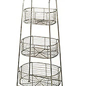Parlane Large Free Standing Metal Wire Three Tier Veg Baskets Stand