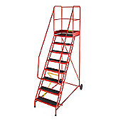 Heavy Duty 9 Tread Steel Warehouse Mobile Step (Punched Tread)