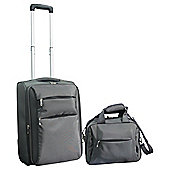 Tesco 2-Wheel Ultra Lightweight Suitcase & Flight Bag Hand Luggage Set