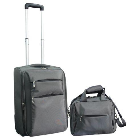 Tesco 2-Wheel Ultra Lightweight Suitcase & Flight Bag Hand Luggage Set