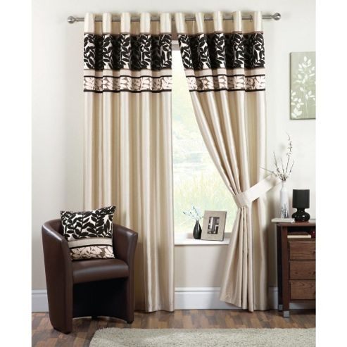 Curtina Coniston Eyelet Lined Curtains 66x72 inches - Black