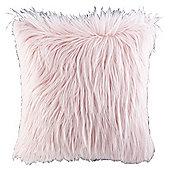 Shaggy Pink Faux Fur Cushion