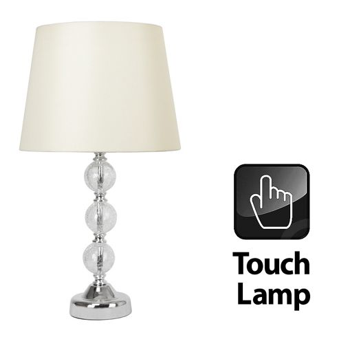 Crackle Glass Ball Touch Table Lamp in Chrome with Cream Shade