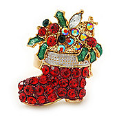 Red Crystal Christmas Stocking Holiday Ring In Gold Plating - 30mm Across - Size 7/8