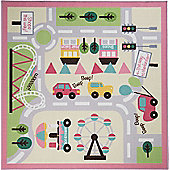 Kiddy Girls Town Map Rug 133 x 133