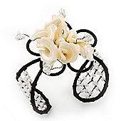 Ivory Shell 'Flower' Wired Cuff Bracelet - Adjustable