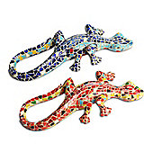 Mosaic Coloured Blue and Orange Lizard Garden Ornaments