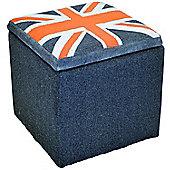 Union Jack - Square Flag Storage Pouffe Stool - Blue / Red / Grey