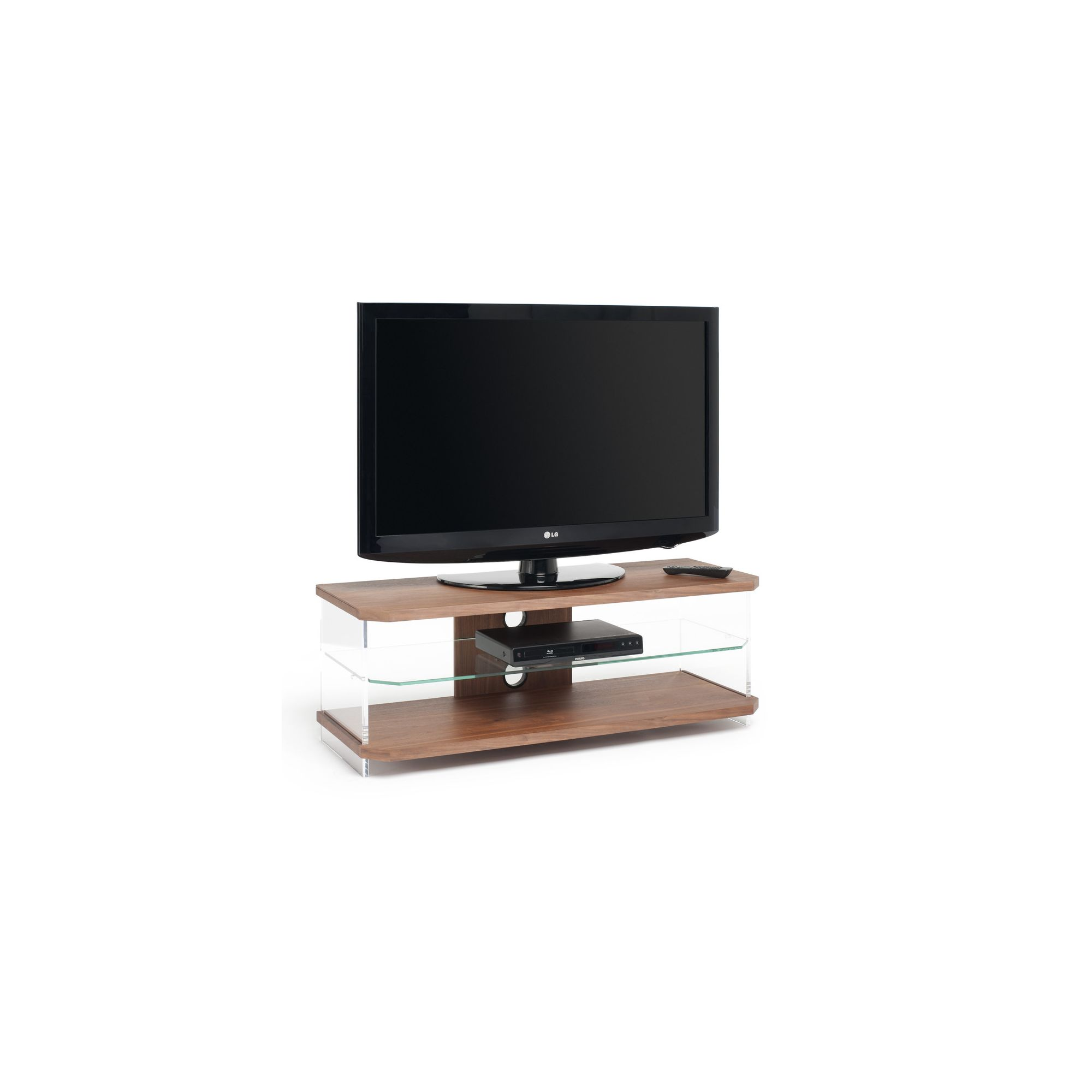 Techlink Air Acrylic and Glass 55'' TV Stand - Walnut at Tesco Direct